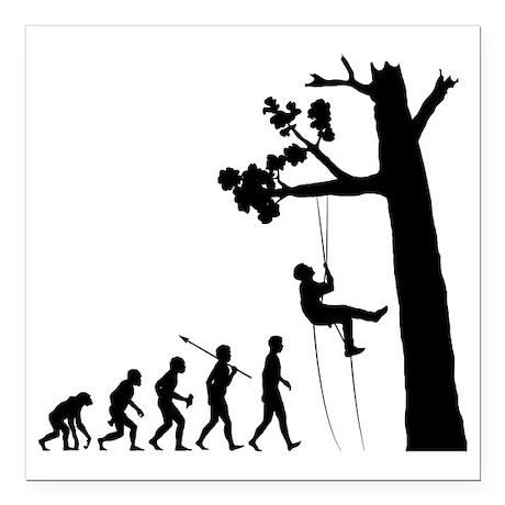 "Tree-Climbing2 Square Car Magnet 3"" x 3"""