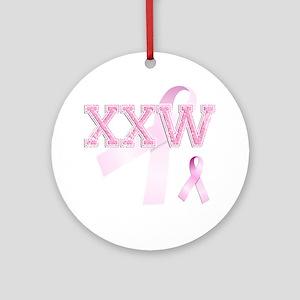 XXW initials, Pink Ribbon, Round Ornament