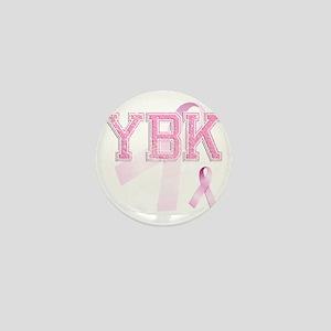 YBK initials, Pink Ribbon, Mini Button