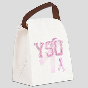 YSU initials, Pink Ribbon, Canvas Lunch Bag
