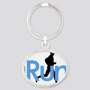 iRun in Blue Oval Keychain