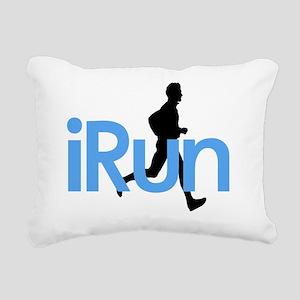 iRun in Blue Rectangular Canvas Pillow