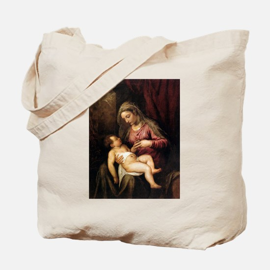 Virgin and Child - Titian - c1560 Tote Bag