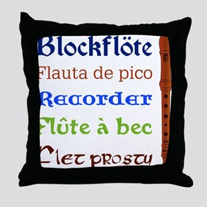 Multilingual Recorder Throw Pillow