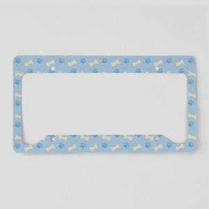 Blue Paw Print Bone Pattern License Plate Holder