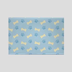 Blue Paw Print Bone Pattern Magnets