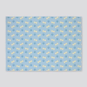 Blue Paw Print Bone Pattern 5'x7'Area Rug