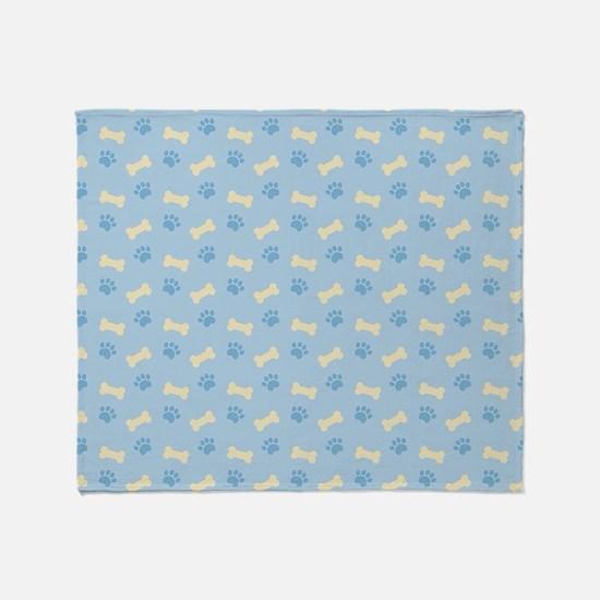 Blue Paw Print Bone Pattern Throw Blanket
