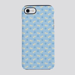Blue Paw Print Bone Pattern iPhone 7 Tough Case
