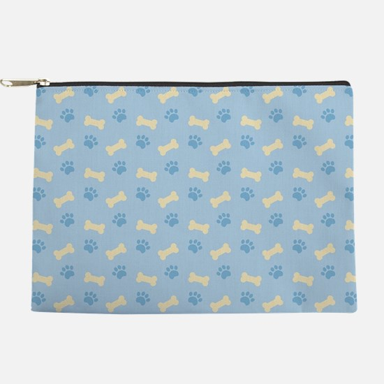 Blue Paw Print Bone Pattern Makeup Pouch