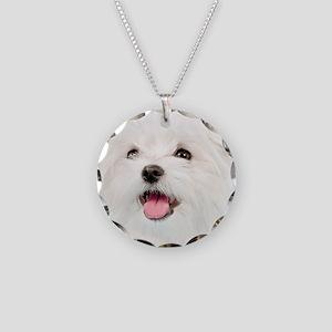 Cute Maltese Necklace Circle Charm
