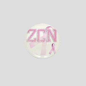 ZCN initials, Pink Ribbon, Mini Button