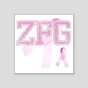"ZFG initials, Pink Ribbon, Square Sticker 3"" x 3"""