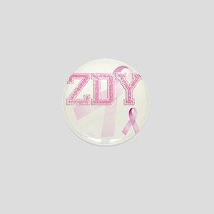 ZDY initials, Pink Ribbon, Mini Button