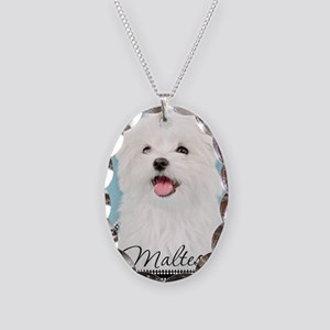 Cute Maltese Necklace Oval Charm
