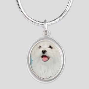 Cute Maltese Silver Oval Necklace