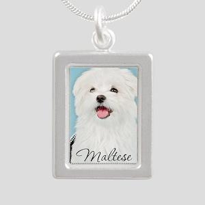 Cute Maltese Silver Portrait Necklace