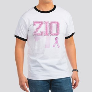 ZIO initials, Pink Ribbon, Ringer T