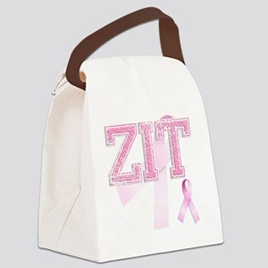 ZIT initials, Pink Ribbon, Canvas Lunch Bag