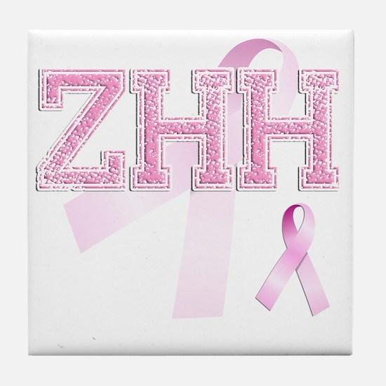 ZHH initials, Pink Ribbon, Tile Coaster