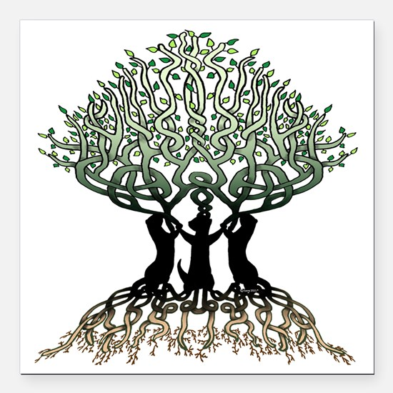 "Tree of Life Shower Square Car Magnet 3"" x 3"""