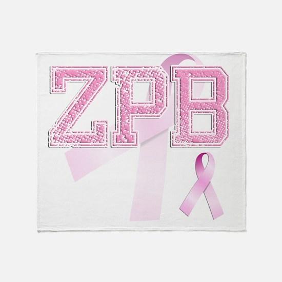 ZPB initials, Pink Ribbon, Throw Blanket