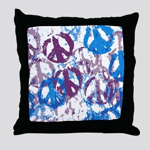 shower curtain cool tone peace sign m Throw Pillow