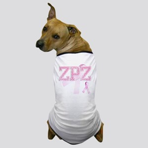 ZPZ initials, Pink Ribbon, Dog T-Shirt