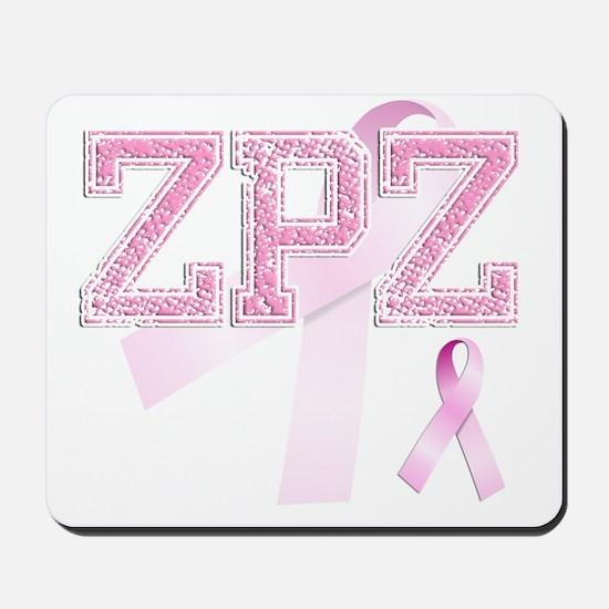 ZPZ initials, Pink Ribbon, Mousepad