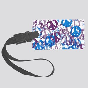 pillow case cool tone peace sign Large Luggage Tag
