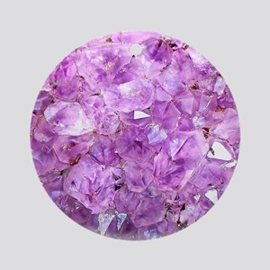 Amethyst crystals,oval on white Round Ornament