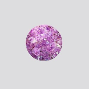 Amethyst crystals,oval on white Mini Button