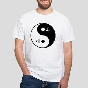 Tai Chi Yin Yang Symbol White T-Shirt