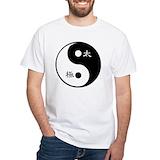 Yin yang Mens Classic White T-Shirts