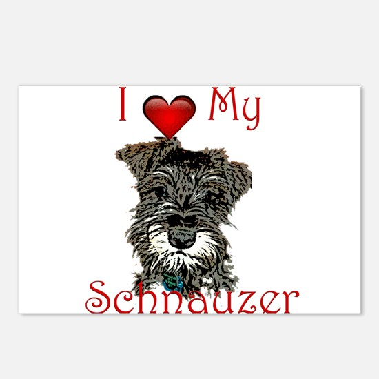 I love my Mini Schnauzer Postcards (Package of 8)