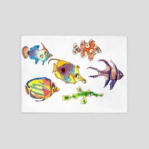 Six Cartoon Fish 5'x7'Area Rug