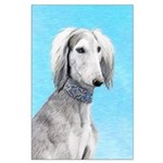 Saluki (Silver and White) Large Poster