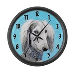Saluki (Silver and White) Large Wall Clock