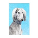 Saluki (Silver and White) Mini Poster Print