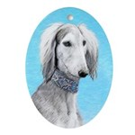 Saluki (Silver and White) Oval Ornament