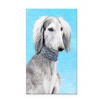 Saluki (Silver and White) Rectangle Car Magnet