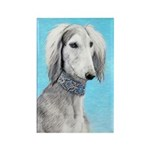 Saluki (Silver and Whit Rectangle Magnet (10 pack)