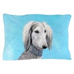 Saluki (Silver and White) Pillow Case