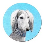Saluki (Silver and White) Round Car Magnet