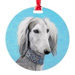 Saluki (Silver and White) Round Ornament