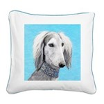 Saluki (Silver and White) Square Canvas Pillow