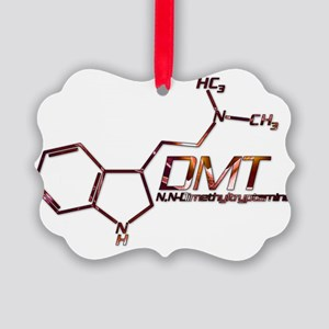 DMT Molecule Orange Picture Ornament