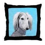 Saluki (Silver and White) Throw Pillow