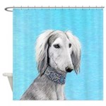 Saluki (Silver and White) Shower Curtain