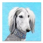 Saluki (Silver and White Square Car Magnet 3